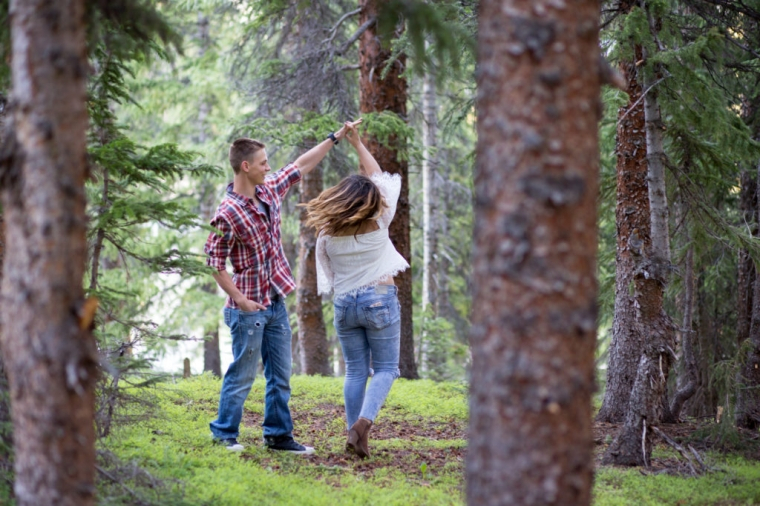 loveland pass engagement session colorado forest